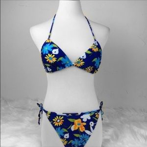 Hoopa Navy and Yellow floral triangle bikini